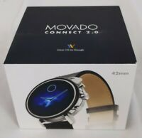 MOVADO CONNECT 2.0 SMART BLACK LEATHER TOUCH SMARTWATCH 42MM 3660028 $349.99