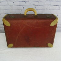 Multnomah Hollywood Luggage 21quot; Vintage Suitcase Brown Leather Trimmed Lined