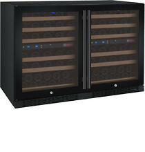 Allavino 112 Bottle Built In Wine Cooler Refrigerator Black Glass Door Four Zone