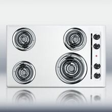 30  wide 220V electric cooktop in white porcelain finish