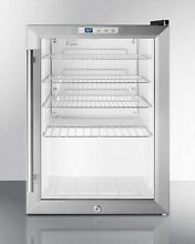 Summit Compact Commercial Glass Door Refrigerator Stainless S  SCR312LCSS