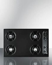Summit 30  Cooktop with Four Burners   Battery Ignition   Black