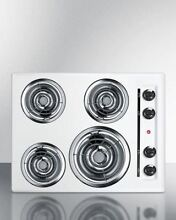Summit 24  220V Electric Cooktop   White Porcelain