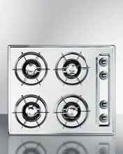 Summit 24  Gas Cooktop with Four Burners   Gas Spark Ignition   Chrome