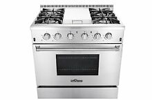 THOR 36 Inch SS Gas Range w  5 2 cu ft  Oven  4 Burners  Griddle Convection Fan