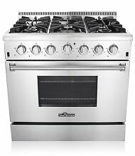 THOR 36 Inch SS Gas Range with 5 2 Cu  Ft  Oven  6 Burners  Cast Iron Grates