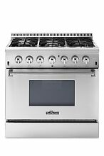 THOR 36 Inch SS Dual Fuel Range with 5 2 cu  ft  Oven  6 Burners  Convection Fan