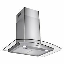 Oliver   Smith Stove Hood 36  European Style Range Stainless Steel Lights Glass