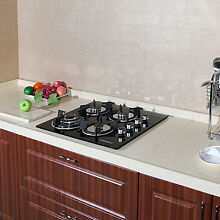 24in Black Tempered Glass Built in 4 Burner Cooktops LPG NG Gas Hob Cooktops USA