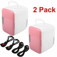 2 Pack Portable Mini Fridge Cooler   Warmer Auto Car Home Office AC   DC Pink BS