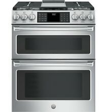 GE CGS995SELSS Caf  30  Slide In Front Control Gas Double Oven w  Convection