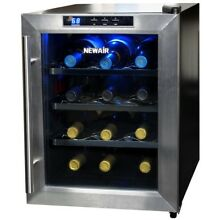 Wine Cooler 12 Bottle Thermoelectric Stainless Steel Countertop Cellar Black