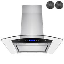 AKDY 30 in  Convertible Island Mount Range Hood in Stainless Steel with Tempered