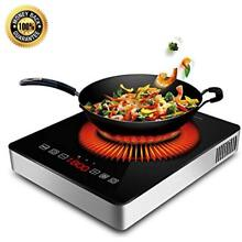1800W Portable Induction Cooktop Ceramic Glass Plate Design Stainless Steel LED