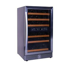 46 Bottle Dual Zone Wine Cellar Wooden Shelf Compressor Beverage Fridge Home Bar