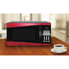 Red Microwave 900W 1 Touch 10 Power Levels Apartment Dorm Kitchen Countertop