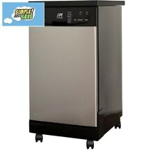 Portable Dishwasher 18in Front Control Stainless Steel 8 Place Settings Capacity