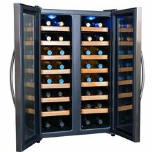 NewAir AW 321ED 32 Bottle Dual Zone Thermoelectric Wine Cooler  Stainless Steel