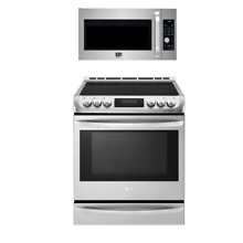 LG 2 PC Kitchen Package LSE4617ST Range  LSMC3086ST Over the Range Microwave