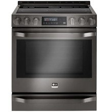 LG Studio LSSE3029BD 30 Inch Black Stainless Steel Slide In Electric Range