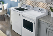 GE GTW680BSJWS GTD65EBSJWS White Top load Washer and Front Load Dryer