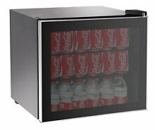Stainless Steel Beverage Cooler Fridge Compact Glass Door 70 Can Refrigerator
