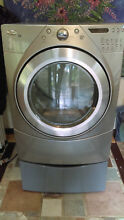 Whirlpool duet resource saver gas dryer  silver grey chrome color with pedestal