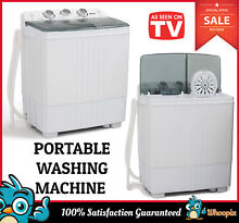 Portable Mini Washing Machine Compact Twin Tub 11lb Washer Spin and Dryer White
