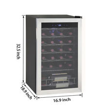 Compressor Wine Cooler Fridge 28 Bottles Freestanding Stainless Steel Frame
