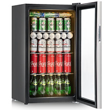 Costway 120 Can Beverage Refrigerator and Cooler Mini Fridge with Glass Door for