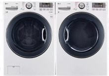 LG WM3575CW DLEX3570W White Front Load Washer and Dryer Laundry Bundle