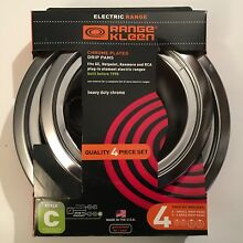 4 Pc Set Range Kleen Style C Drip Pans Electric Stove Built Before 1990 New