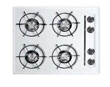 Summit 24  Gas Cooktop with Four Burners   Gas Spark Ignition   White