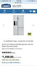 LG 26CuFt Ultra Capacity Side By Side Refrigerator with Smart Cooling and