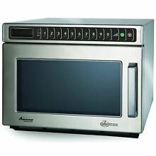 Commercial Microwave  0 6 Cu  Ft  1200 Watts  Push Buttons  Stainless Steel