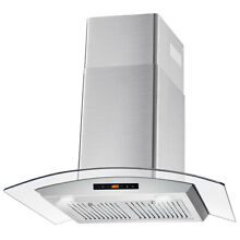 30  Wall Mount Range Hood 380 CFM Touch Controls Stainless Steel Filters LEDs