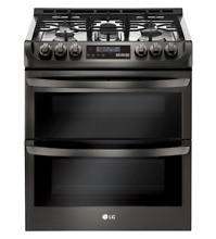 LG 30 Inch Slide In Double Oven Gas Range Black Stainless Steel LTG4715BD