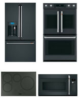 GE Cafe Black Matte Kitchen Package  Refrigerator  Cooktop  Wall Oven  Microwave