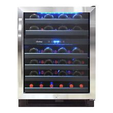Vinotemp 46 Bottle Dual Zone Wine Cooler  Black and Stainless