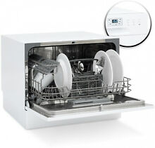 Kitchen Dishwasher with 6 Place Setting Compact Design Stainless Steel New White