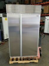 SUB ZERO 48  STAINLESS SIDE BY SIDE REFRIGERATOR WITH NO FLAW STAINLESS STEEL