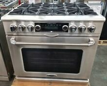 NEW OPEN BOX CAPITAL RANGE 36  DUAL FUEL 6 BURNER RANGE WITH ROTISSERIE IN OVEN