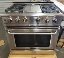 OUT OF BOX CAPITAL GAS SELF CLEANING 36  RANGE W  ROTISSERIE IN OVEN STAINLESS