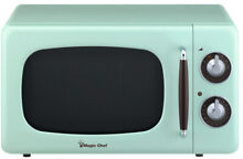 Retro Countertop Microwave 0 7 cu  ft  7 Power Levels Dial Control Mint Green