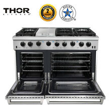 Thor 48 Gas Range 2 Oven 6 Cooktop Griddle Stainless Steel LRG4801U High Quality
