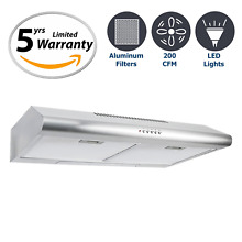 Cosmo 5MU30 30 in Under Cabinet Range Hood 200 CFM   Ducted  Ductless Top  Rear