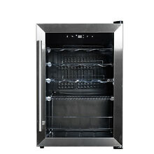 19 Bottle Wine Cooler Beverage Fridge Stainless Steel Frame Glass Door Handled