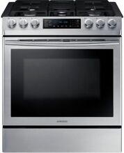 Samsung 30  5 8 cu  ft  Single Oven Gas Slide In Range NX58M9420SS Stainless