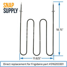 Snap Supply Broil Element for Frigidaire Directly Replaces 316203301