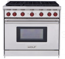Wolf GR366 Pro Style 36  Gas Range Stainless Steel Pro Handle 6 Burners New